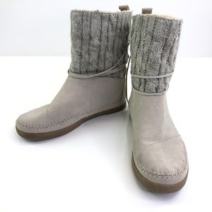 Toms Nepal Boot Grey Cable Knit Suede w/ Lace Ties